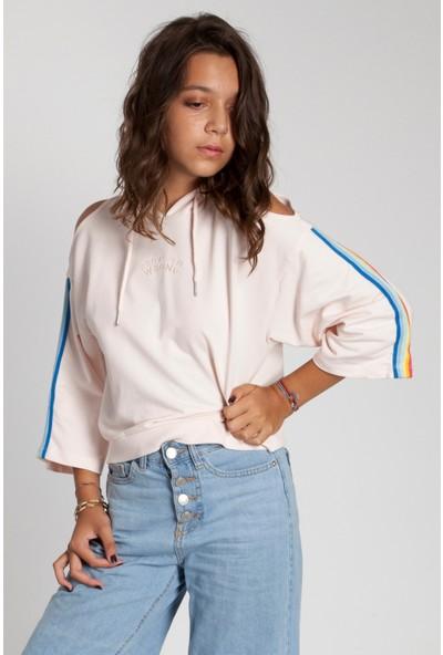 Bexy Mila Omuzları Şeritli Kapüşonlu Pembe Sweatshirt