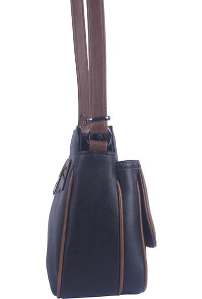 Noble Çapraz Askılı Kadın Çanta Siyah Taba Rz1978