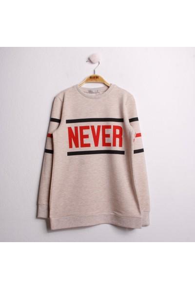 Toontoy Kız Çocuk Sweatshirt Never Baskı Kahverengi Melanj 8 Yaş - 128 cm Boy