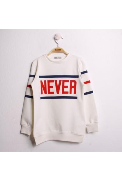 Toontoy Kız Çocuk Sweatshirt Never Baskı Ekru 8 Yaş - 128 cm Boy