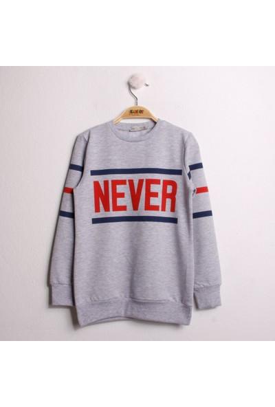 Toontoy Kız Çocuk Sweatshirt Never Baskı Gri Melanj 8 Yaş - 128 cm Boy