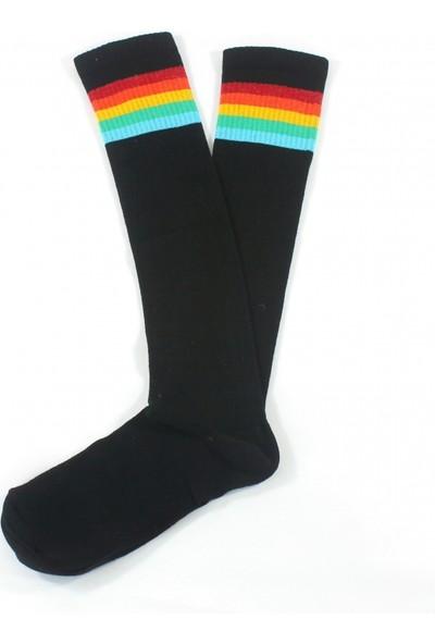 Hane14 Rainbow Renkli Çizgili Diz Altı Koton Spor Çorap Siyah