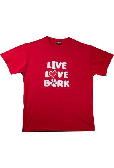 Maddog Unisex Live Love Bark Bisiklet Yaka Tshirt