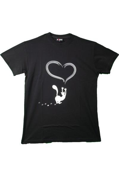 Maddog Unisex Love Cat Bisiklet Yaka Tshirt