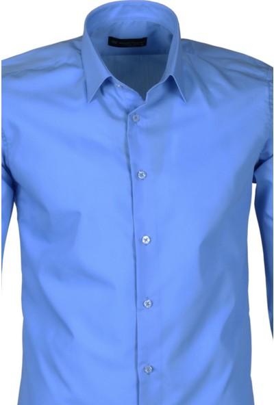 Modarar Erkek Gömlek Mavi Slim Fit Uzun Kollu Rar00171