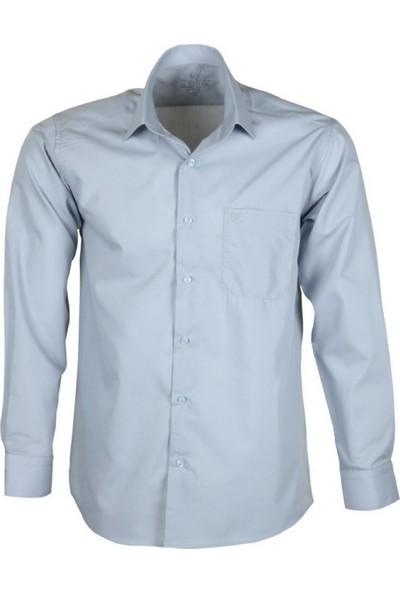 Modarar Erkek Klasik Gömlek Gri Normal Kesim Rar00261