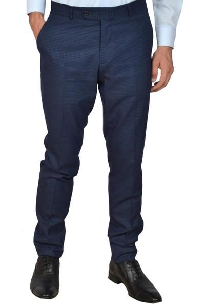 Modarar Erkek Kumaş Pantolon Kareli Slim Fit Rar00311 Lacivert