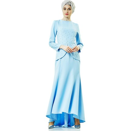 989f67c29fcb9 Lady Nur Abiye Elbise-Buz Mavisi 3009-14 Fiyatı