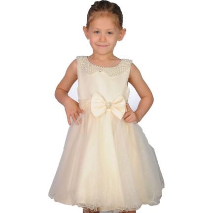 0569a0201879c Butikhappykids Kız Çocuk Abiye Krem İncili Tokalı Abiye Elbise. ‹ ›
