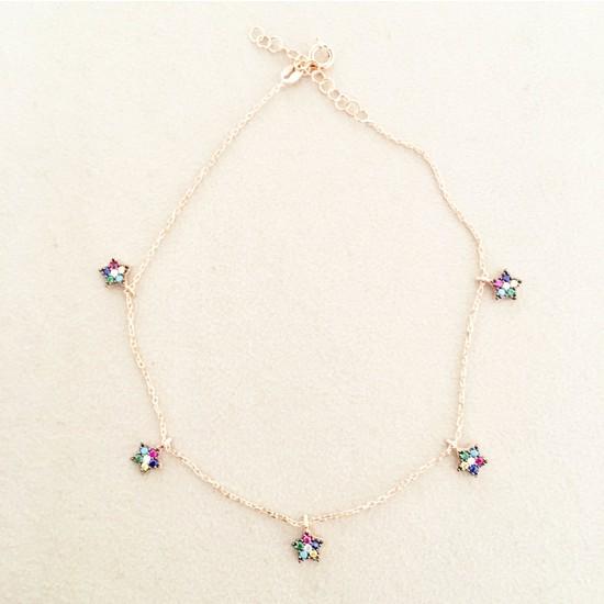 Vella Jewels Renkli Taşlı Yıldız Sallantılı Şakira Halhal
