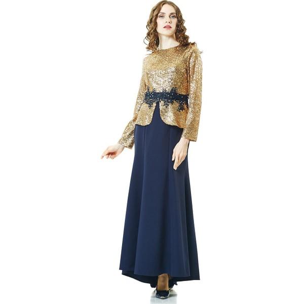 84088d6e18078 Lady Nur Pulpayet İşlemeli Abiye Elbise-Lacivert 5014-17 - 40 - Lacivert  Ürün