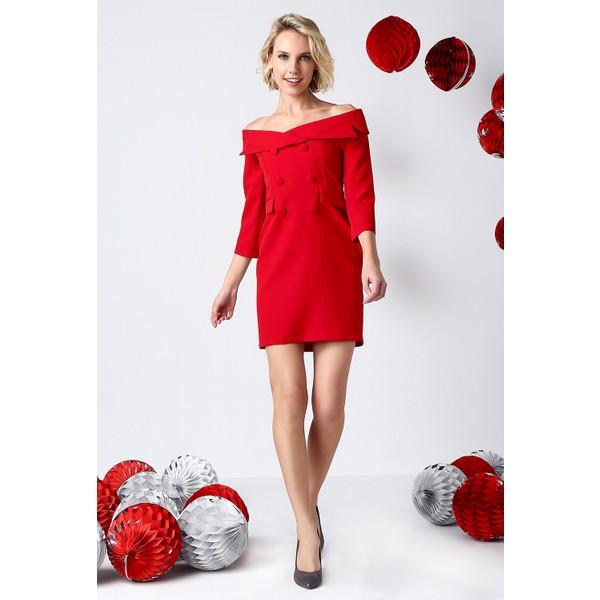 e54c5df4812a8 İroni Geniş Yakalı Kırmızı Blazer Elbise - 5153 - 891 Kırmızı - XL Ürün  Resmi