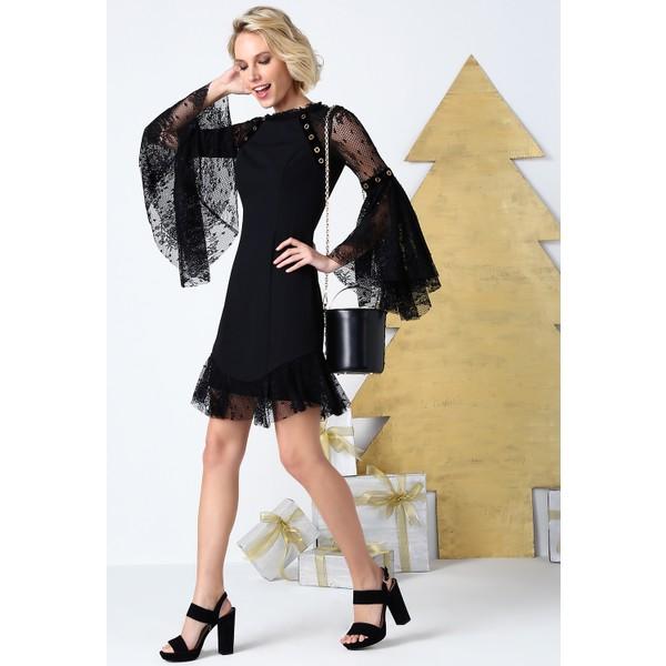 fc6d9efe61659 6ixty8ight Siyah Dantel Volanlı Kısa Abiye Elbise - 36 Fiyatları ...
