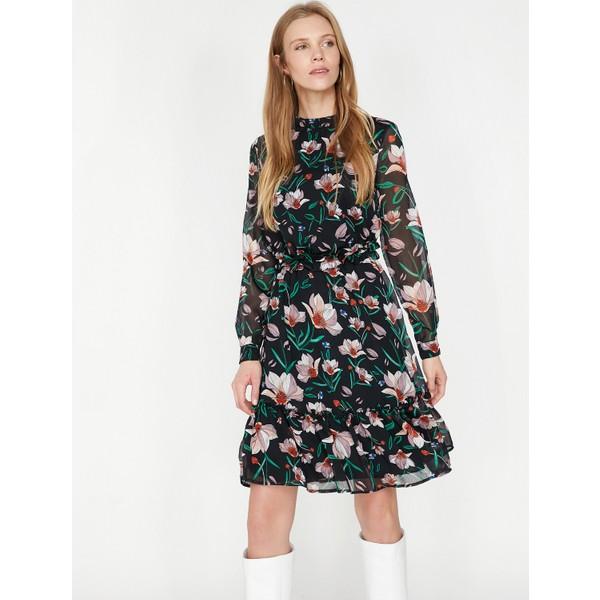 fa4158dd99c7c Koton Çiçekli Elbise - 34 - Siyah Fiyatları, Özellikleri ve ...