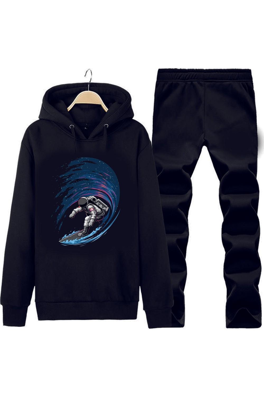Art T-Shirt Surfing in Space Kapüşonlu Eşofman Takımı