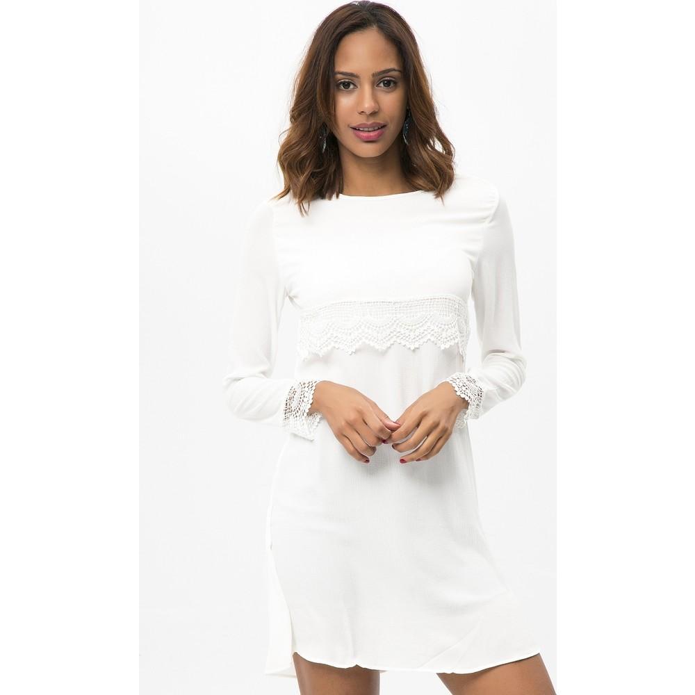 5661bf15fe25e New Laviva Beyaz Kadın Uzun Kollu Dantelli Kısa Elbise