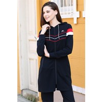 Tommy Life Lacivert Kadın Kapüşonlu Çizgi Şeritli Rahat Form Klasik Paça Eşofman Tunik Takım-95175