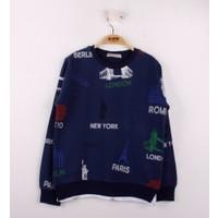 Toontoy Erkek Çocuk Sweatshirt Komple Baskılı Lacivert 8 Yaş - 128 cm