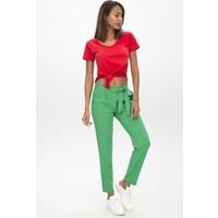 New Laviva Yeşil Kadın Kuşaklı Pantolon
