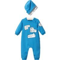Wogi Erkek Bebek Tulum Şapka 2li Takım 3-15 Ay 5119