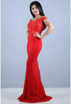 a70e4e5e9d54e ... Açelya Okcu Fashion Güpür Detaylı Kırmızı Balık Elbise ...