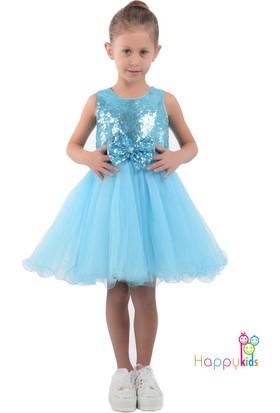 ebe2ef1f957fc Butikhappykids Kiz Çocuk Buz Mavisi Kabarık Payetli Abiye Elbise ...