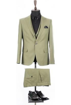 d0b27ce333a82 Deepsea Yeşil Kendinden Desenli Çift Yırtmaçlı İtalyan Kesim 3'Lü Takım  Elbise 1810702 ...