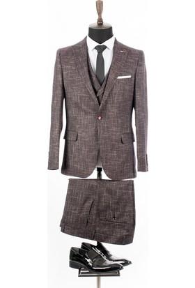 8906792b1770b Deepsea Bordo Kırçıllı Desen İtalyan Kesim Yelekli Erkek Takım Elbise  1810745 ...