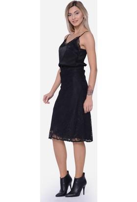 İroni Uzun Kadın Dantel Etek 2814-1149 Siyah