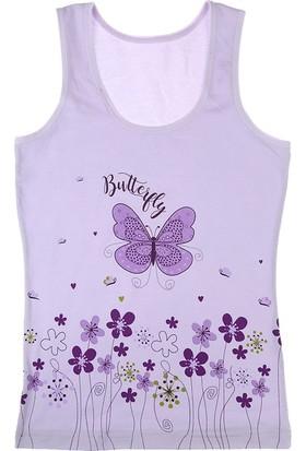 Donella Renkli Kelebek Baskılı Kız Çocuk Atlet - 4371WBKC