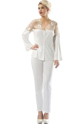 Sistina Omuzları Dantelli Penye Kadın Pijama Takım SG1564