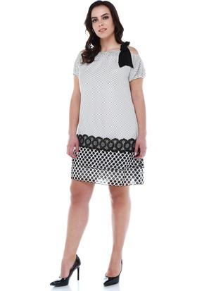 87d710f78ac98 ... B&S Line Siyah Beyaz Puanlı Yakası Bağlamalı Şifon Elbise ...