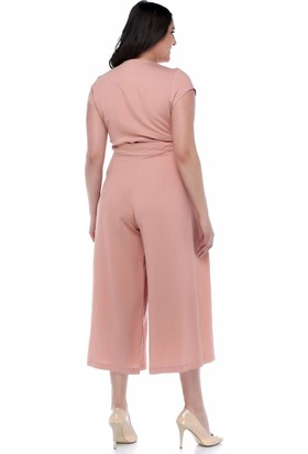 1bb860aaa2f15 ... B&S Line Pudra Rengi Kuşaklı Kruvaze Tulum Elbise ...
