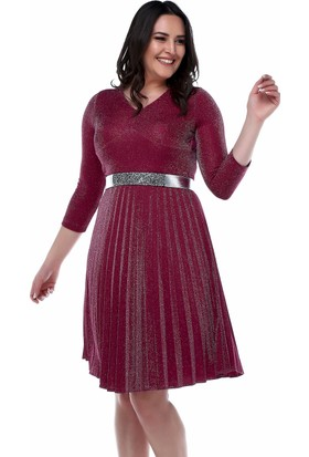 d46237c74f5c1 B&S Line Mürdüm Rengi Eteği Pliseli Kemerli Elbise ...