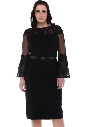 eef7efadd3b73 B&S Line Yakası Ve Kolu Simli Dantelli Siyah Elbise ...