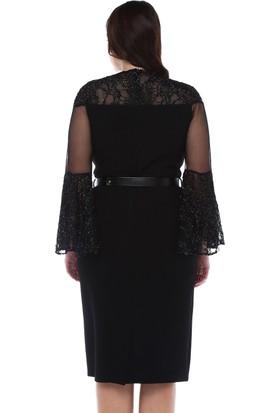 b96ead6280255 ... B&S Line Yakası Ve Kolu Simli Dantelli Siyah Elbise ...