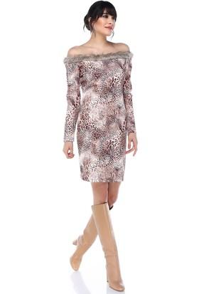 Sense 31763 Degaje Kürklü Yılan Ve Leopar Desen Elbise