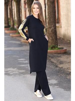 Tommy Life Kolları Simli Cep Detaylı Lacivert Tunik Kadın Takım