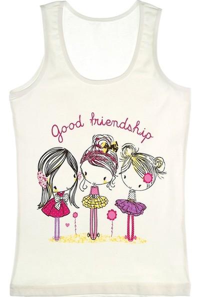 Donella Üç Kız Arkadaş Baskılı Kız Çocuk Atlet - 4371WBGF