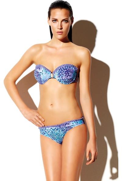 Reflections Kadın Bikini Takımı Straplez Boş Kap Mavi 3105