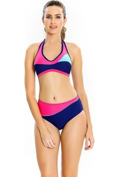 Armes Kadın Bikini Takımı Yüzücü Sporcu Lacivert Likralı 8707-02