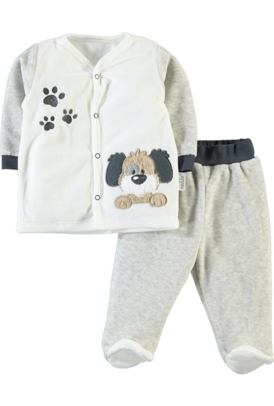 Kujju Erkek Bebek Pijama Takımı 3-6 Ay Gri