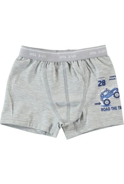 Öts İç Giyim Erkek Çocuk Penye Boxer 2-12 Yaş Gri