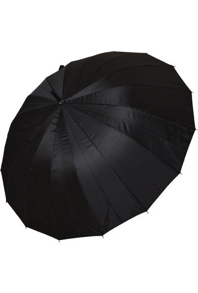 City Vision Baston Şemsiye Siyah Rüzgara Dayanıklı