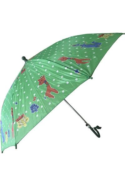 Balonpark 1 Adet 8 Telli Yeşil Çocuk Şemsiyesi Erkek-Kız Çocuk Şemsiye