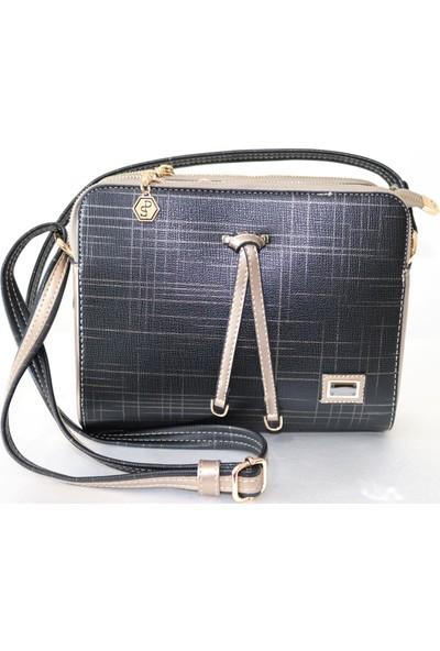 Silver & Polo Siyah - Gold Çapraz Askılı Kadın Çanta 498-1