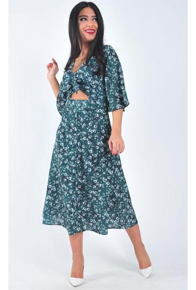 Açelya Okcu Fashion Zümrüt Yeşili Papatya Desenli Elbise
