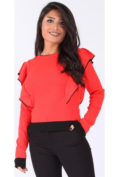 Açelya Okcu Fashion Fırfırlı Kırmızı Kazak