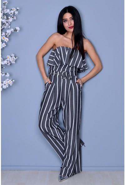 Açelya Okcu Fashion Straplez Çizgili Bol Paça Tulum
