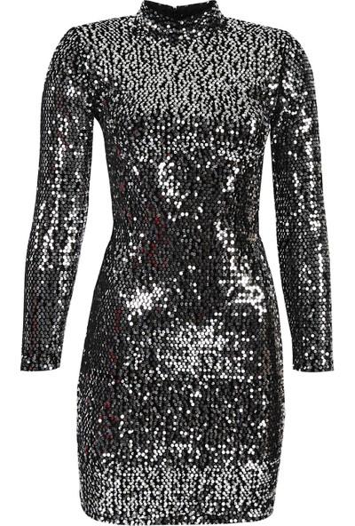 Açelya Okcu Fashion Gümüş Işıltı Kadife Elbise